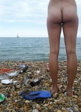 Image result for nudist beach cleaning
