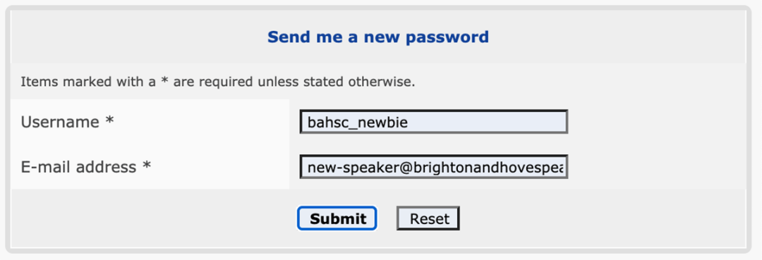 Shows the reset password prompt