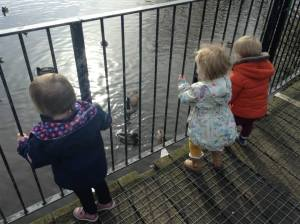 Feeding the ducks at Figgate Park