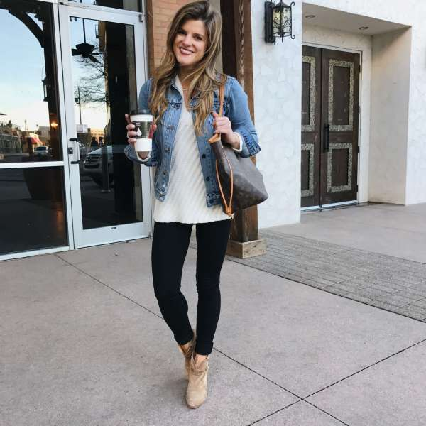What to wear with black jeans   30  Black Jeans Outfit Ideas how to wear black jeans black jeans outfit with cream sweater  denim  jacket  brown