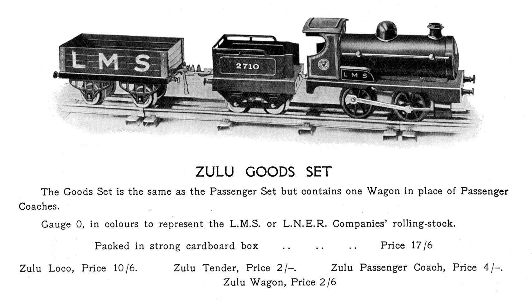 Zulu Goods Train Set Hornby Gauge 0
