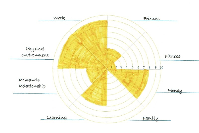 Completed Work Life Balance Wheel Example