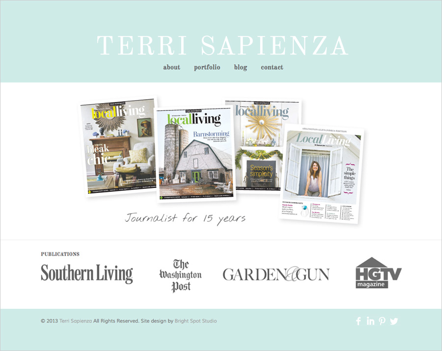 Terri Sapienza website design by Tippi Thole of Bright Spot Studio