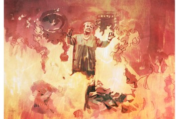 Scene from Fahrenheit 451, illustrated by Tony Stella