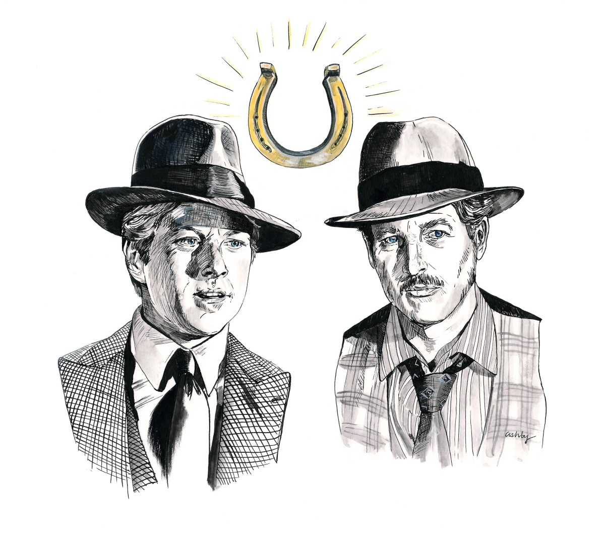 Robert Redford and Paul Newman in The Sting (1973)   art by Brianna Ashby