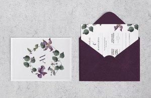 Μοντέρνο Προσκλητήριο Γάμου Floral