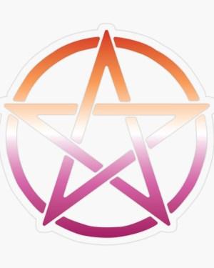 Lesbian Pride Flag Pentagram Sticker