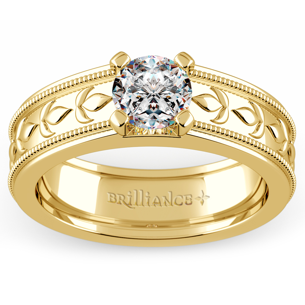 Elysium Solitaire Mangagement Ring In Yellow Gold 1 Ctw