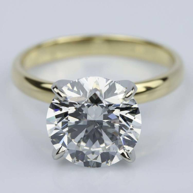 377 Carat Round Yellow Gold Classic Solitaire Engagement Ring