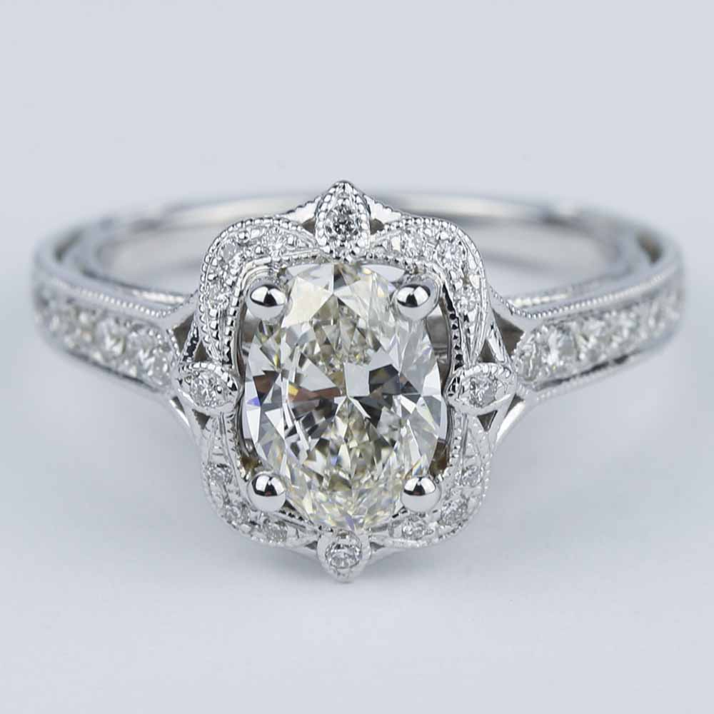 Antique Halo Designer Engagement Ring With Oval Diamond