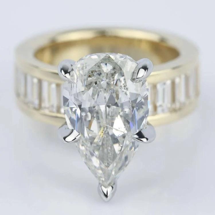 Pear Cut Diamond Baguette Engagement Ring 5 Carat