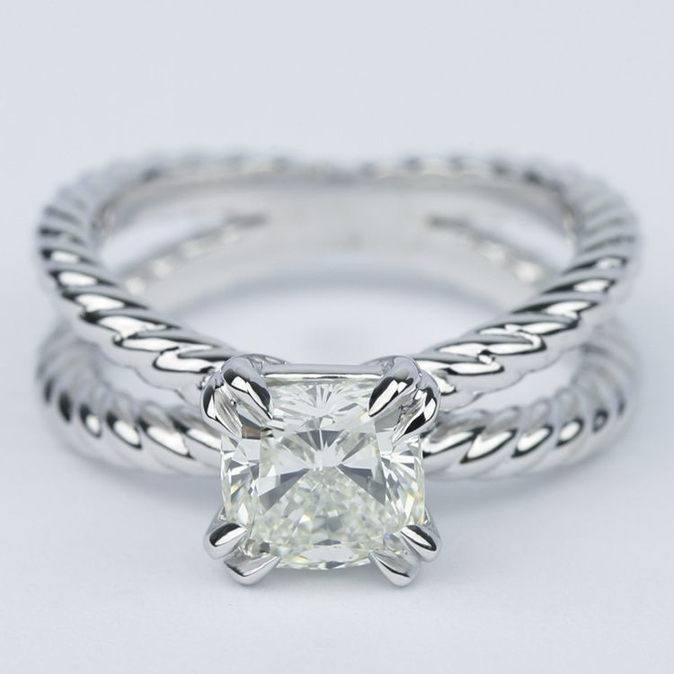 Twisted Rope Split Shank Diamond Engagement Ring 150 Carat