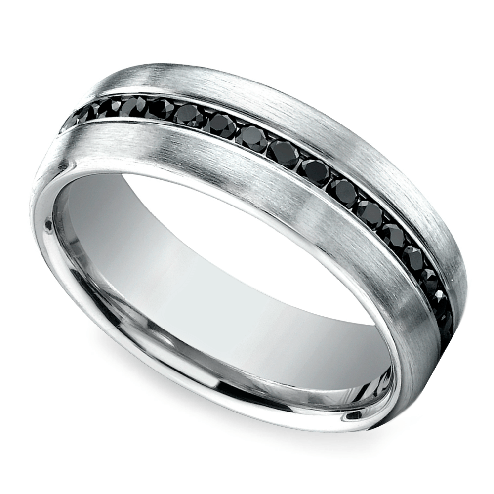 Channel Black Diamond Mens Eternity Band In White Gold