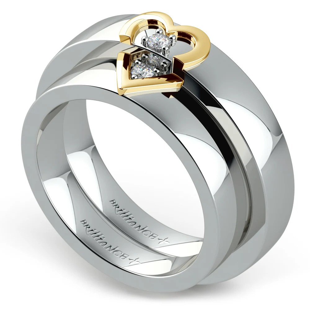 Matching Split Heart Diamond Wedding Ring Set In White And