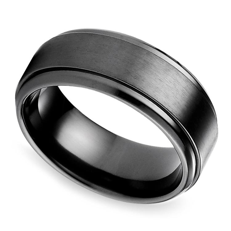 Step Edge Mens Wedding Ring In Black Titanium
