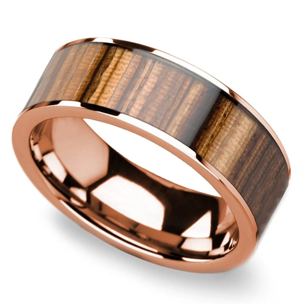 Zebra Wood Inlay Mens Flat Wedding Ring In Rose Gold