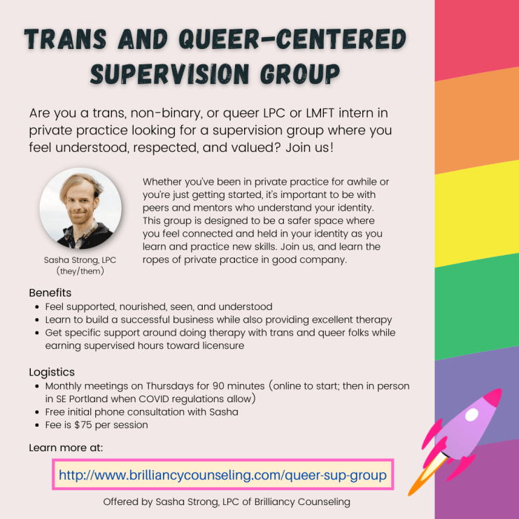 flyer for trans and queer-centered supervision group