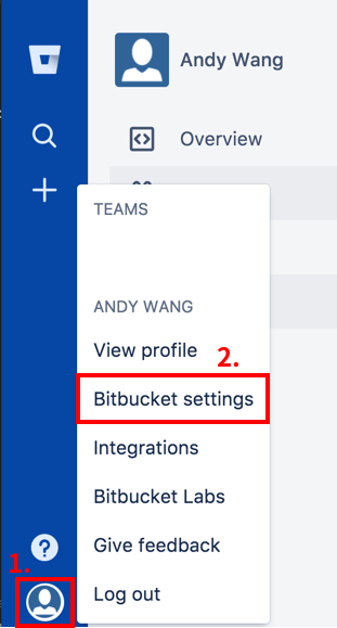 Bitbucket personal settings 開啟個人設定