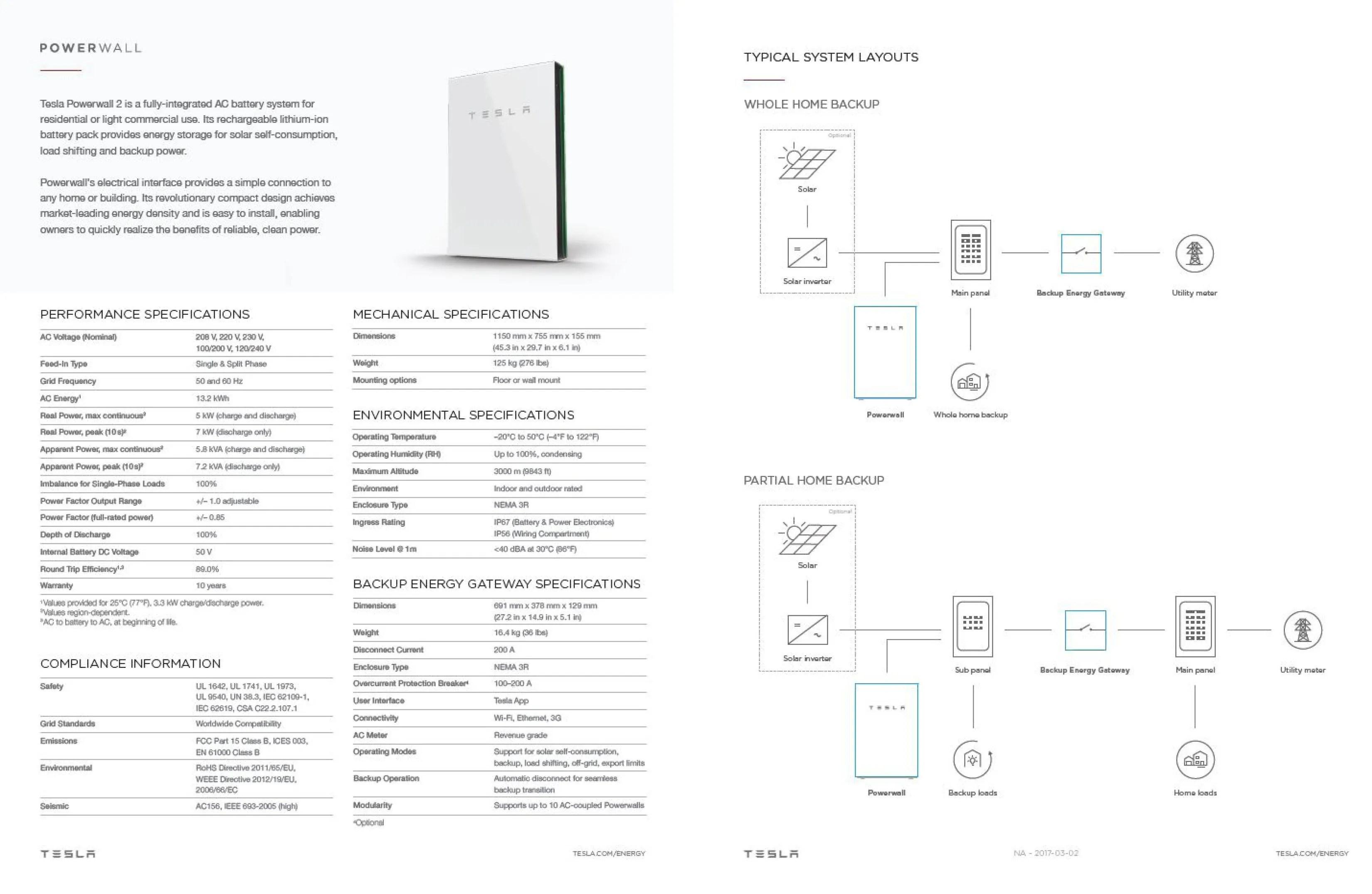Tesla Powerwall 2 Specs >> Tesla Powerwall 2.0 Specs - AC   Brilliant Harvest (941) 359-3700