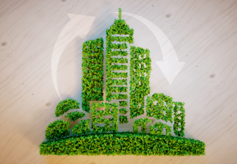 An image for a post discussing Municipal Green Bonds with plant material in the shape of a city scape