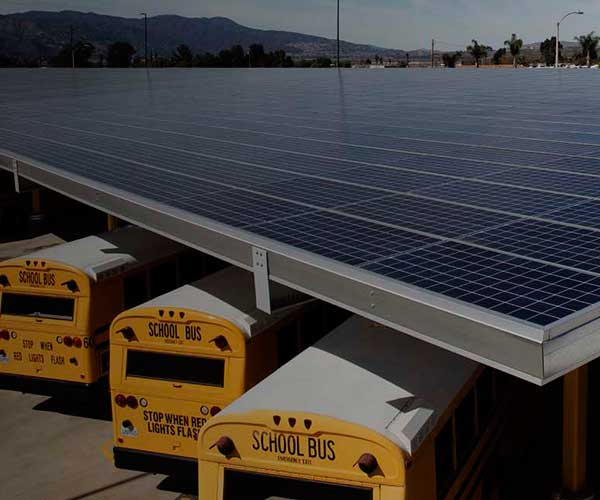 buses parked under solar room