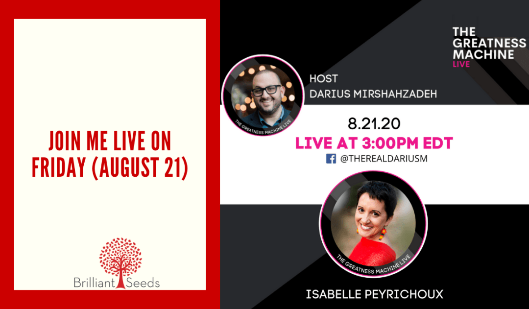 Join me LIVE on Friday (August 21)