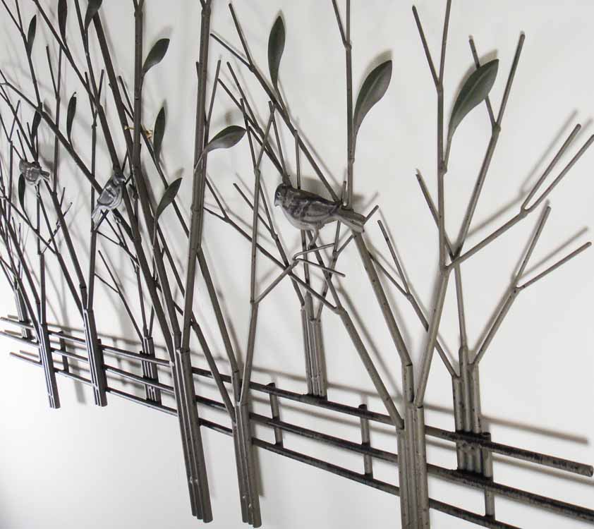 contemporary or tree scene with metal wall art tree scene with birds : tree scene metal wall art