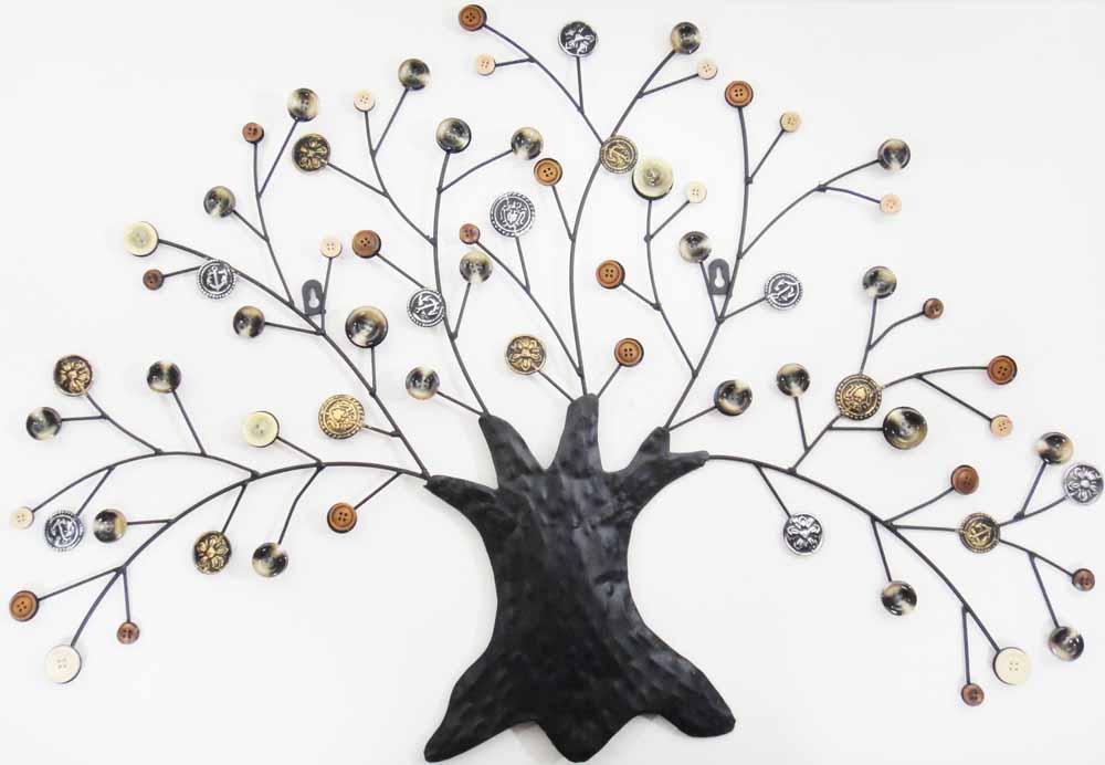 autumn button oak tree metal wall art finished in rustic autumn colour: tree scene metal wall art