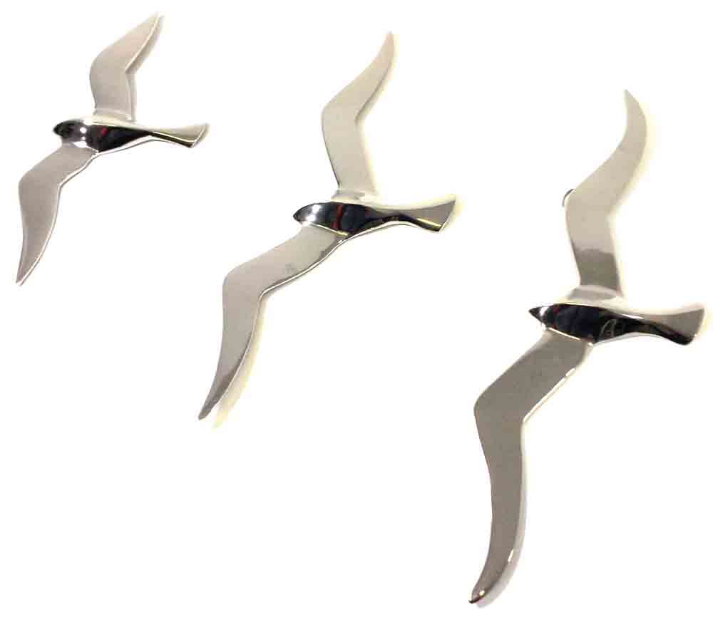 Metal Wall Art Set Of 3 Large Flying Seagulls