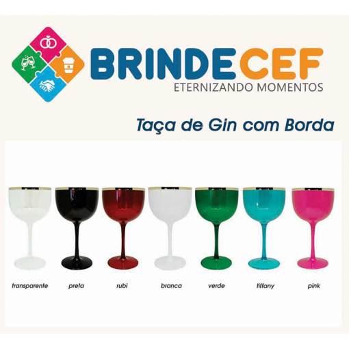 Taça de Gin de Acrílico Com Borda Metalizada 475ml Personalizada