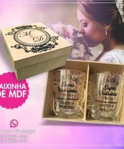Kit de Caixinha de Mdf com 2 copos de vidro caldereta 350 ml personalizados 1