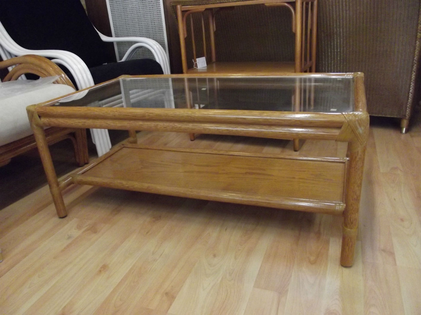 table basse rectangulaire 2 plateaux en rotin