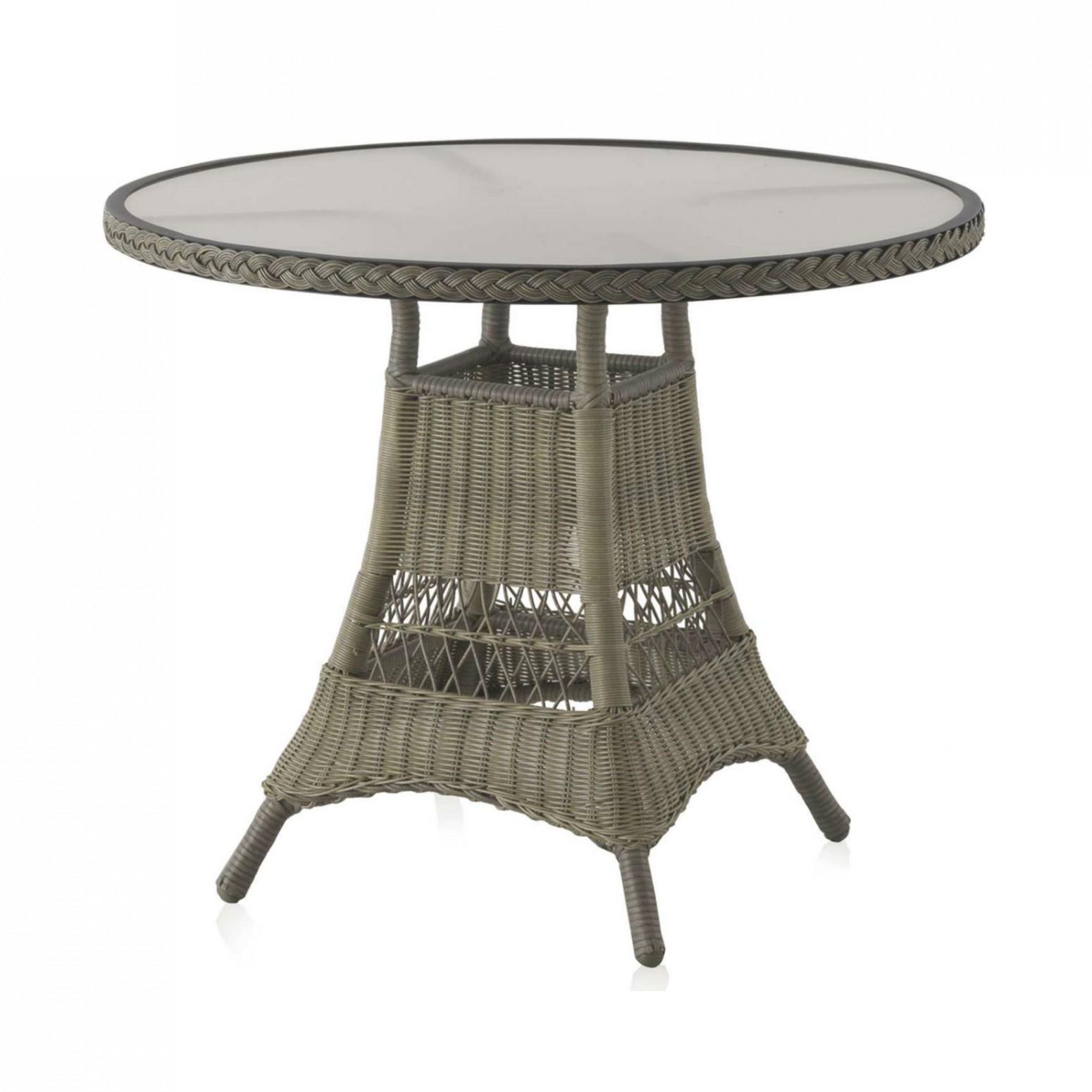 table de jardin ronde 70 cm en aluminium et resine tressee
