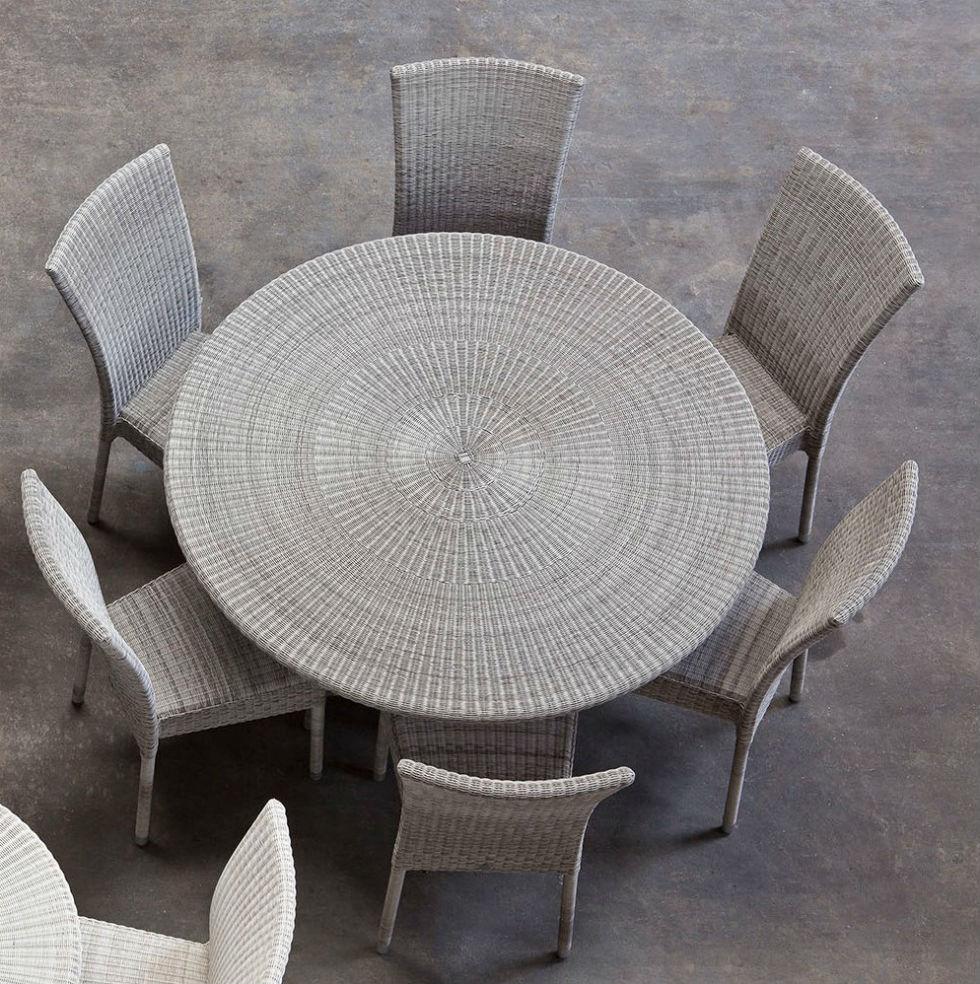 table de jardin ronde 130 cm en resine tressee
