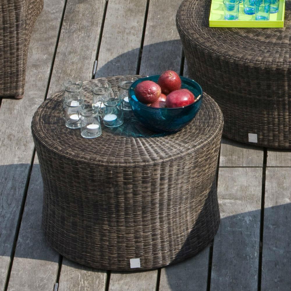 table basse ronde de jardin en resine tressee