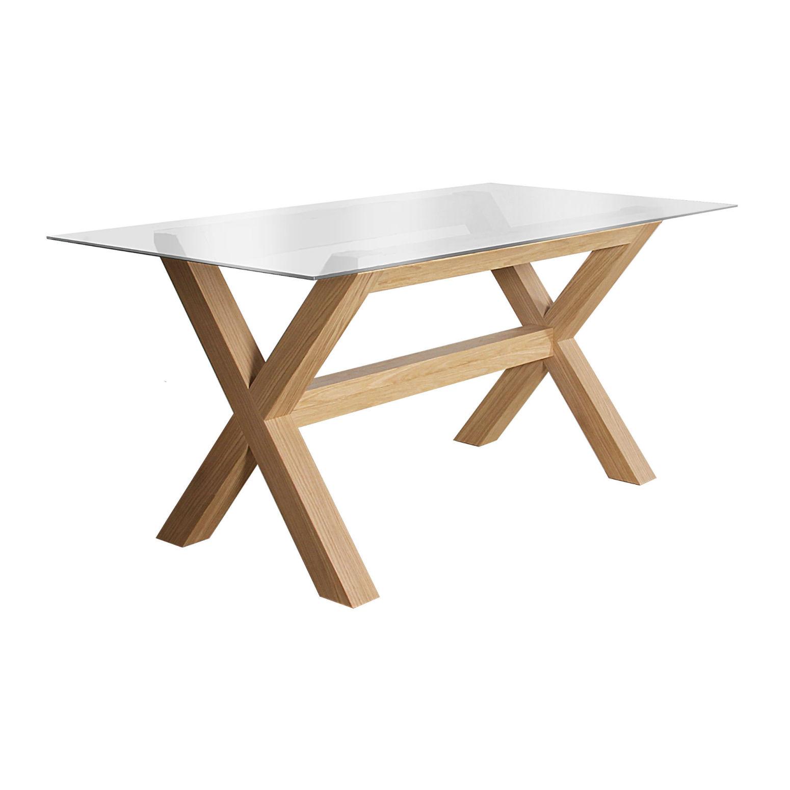 table rectangulaire avec plateau en verre