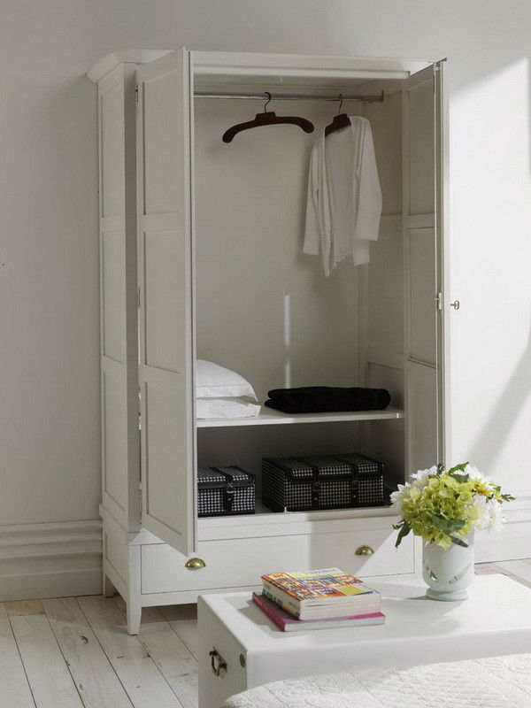 armoire penderie en pin massif avec portes et tiroir