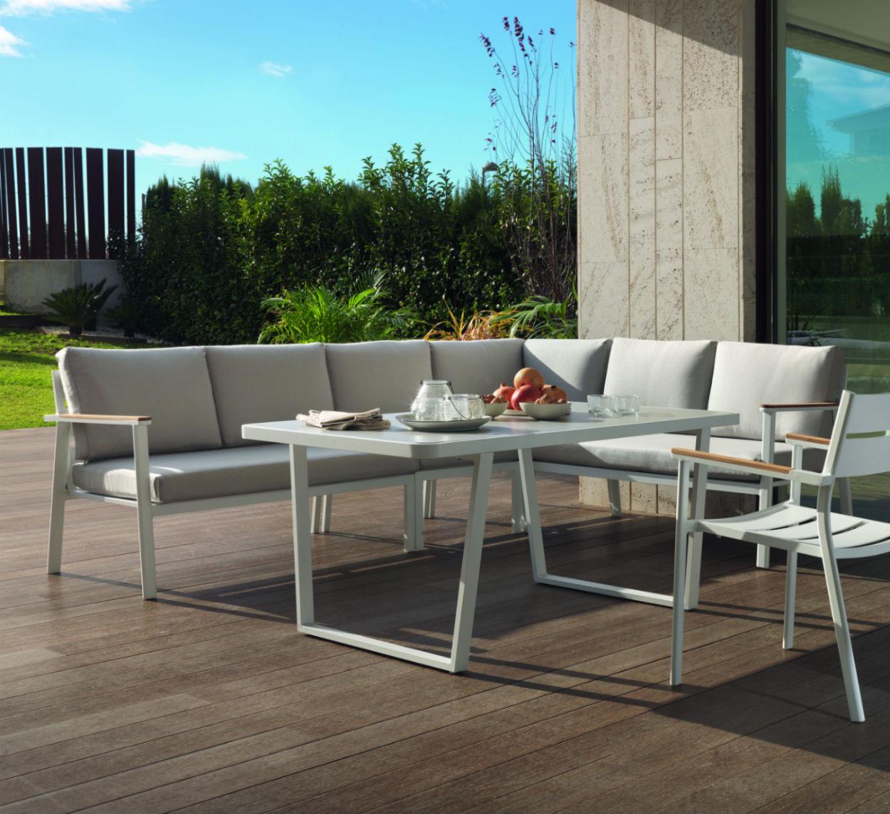 salon de jardin d angle dinatoire en aluminium avec table haute
