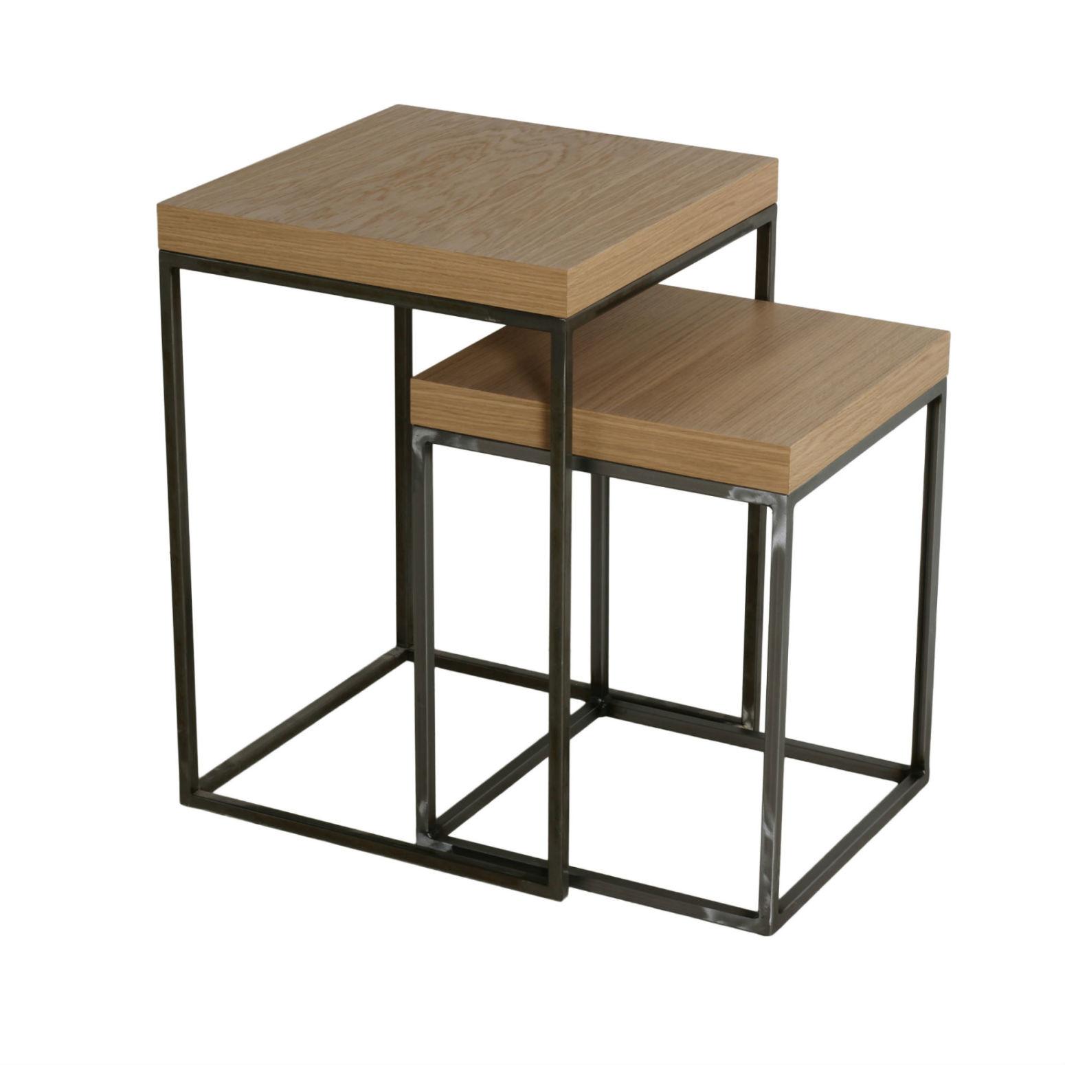 table gigogne bois et metal