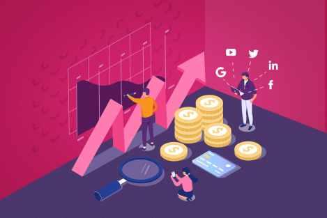Ilustracao-mostra-equipe-planejando-a-divisao-do-budget-de-marketing