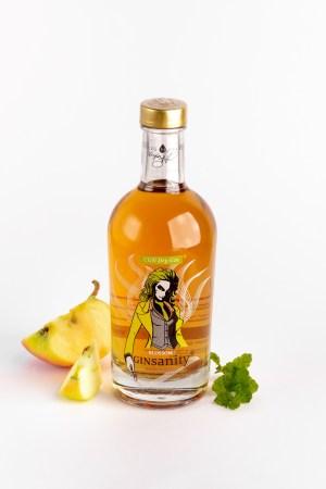 Eine Flasche orangener Gin mit Apfel und Minze