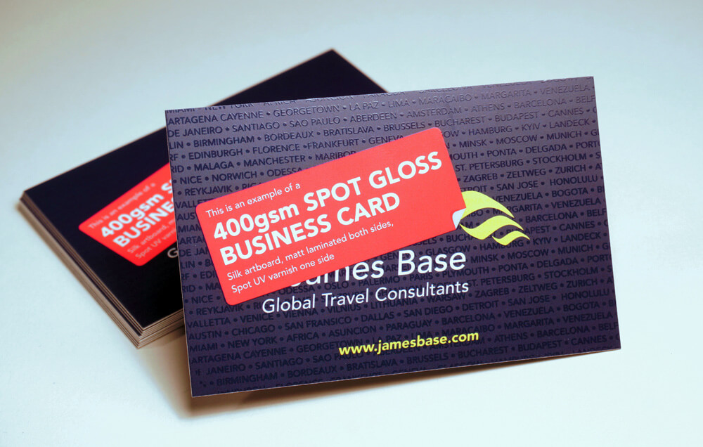 400gsm Spot Gloss UV Coated Business Cards