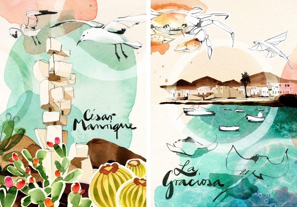 Illustration of Lanzarote by Ekaterina Koroleva