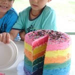 Brisbane HypnoBirthing children enjoying rainbow cake on World HypnoBirthing Day