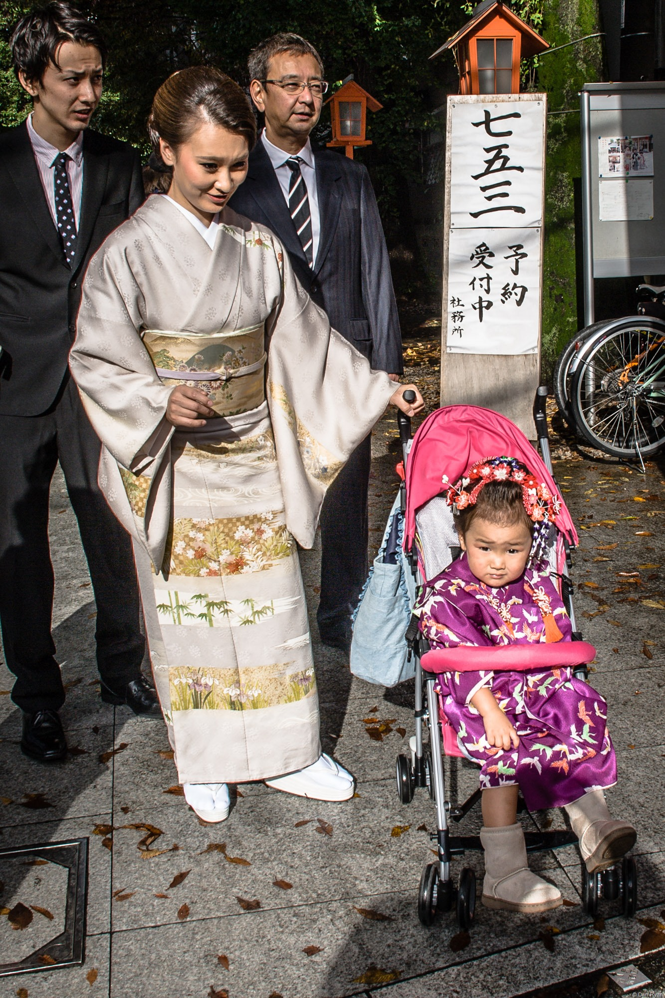 Japanese mother, daughter traditional dress