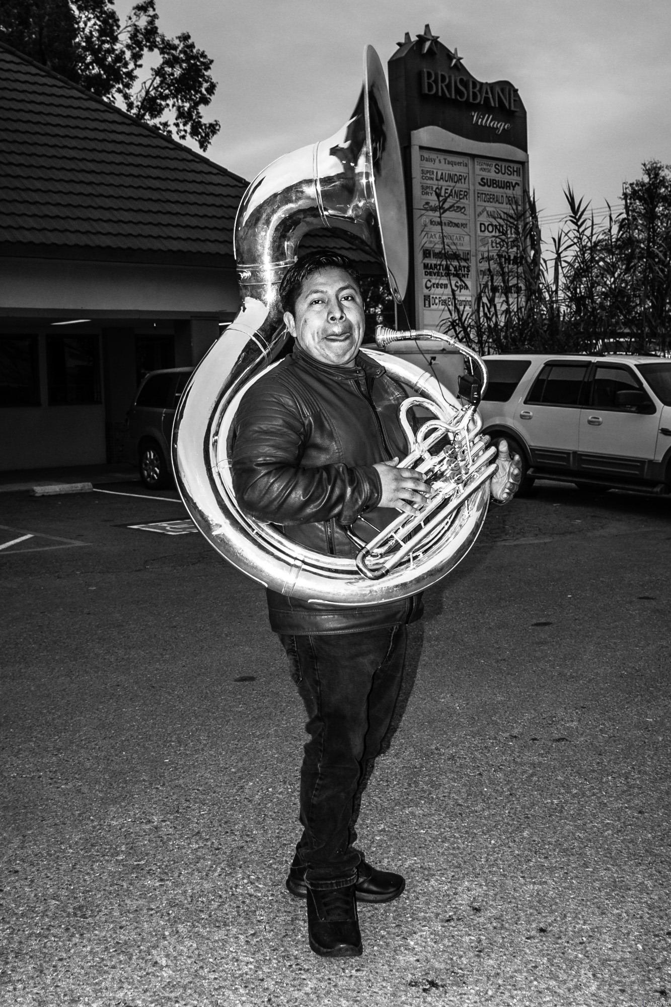 Mexican banda tuba player