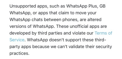 Whatsapp on using unofficial apps