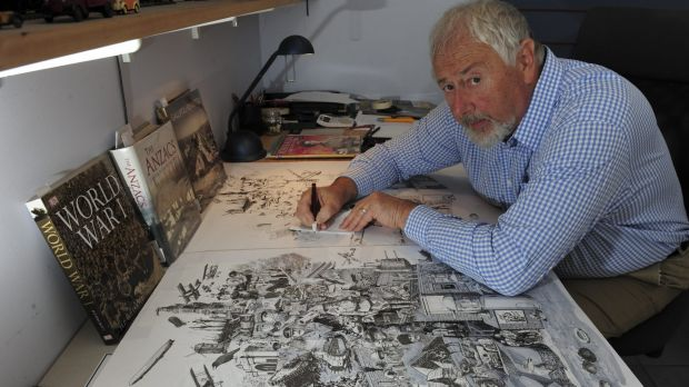 Jim Kaucz works on the pen and ink poster depicting scenes from World War I to commemorate the Gallipoli centenary.
