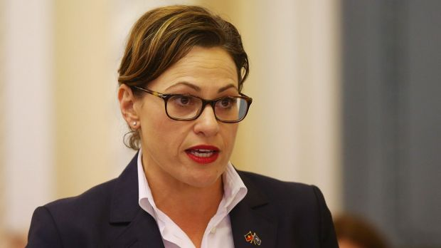 """Acting Premier Jackie Trad says Queensland's falling unemployment rate was a """"big tick"""" for the Palaszczuk government."""