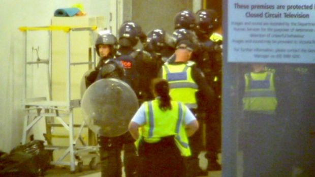 Riot police and dog handlers were called to the Melbourne Youth Justice Centre in Parkville on Sunday.